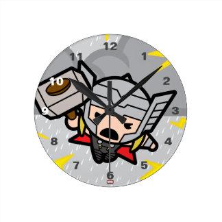 Kawaii Thor With Lightning Round Clock