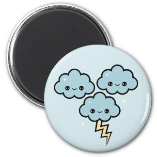 Kawaii Thunder Clouds 6 Cm Round Magnet