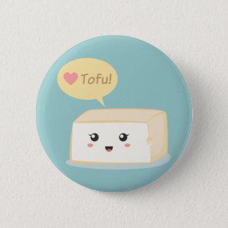 Kawaii tofu asking people to love tofu 6 cm round badge