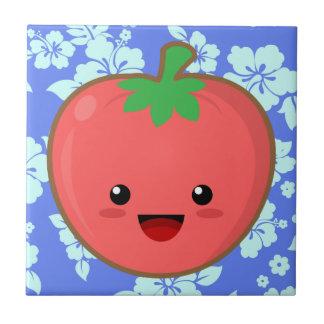 Kawaii Tomato Small Square Tile