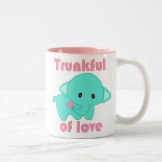 Kawaii Trunkful of Love baby elephant tote bag Two-Tone Mug