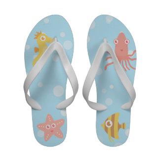 Kawaii Underwater Theme with Bubbles Flip-Flops