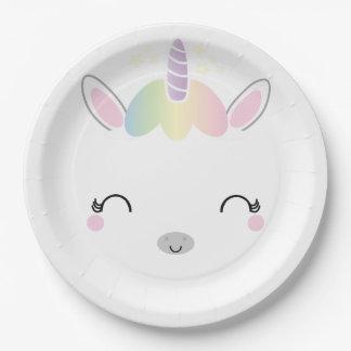kawaii UNICORN BIRTHDAY party plate 2 9 Inch Paper Plate