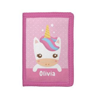 Kawaii Unicorn Kids Pink Personalized Wallet