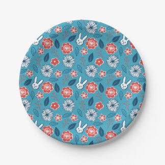 Kawaii Usagi Floral Pattern Paper Plate