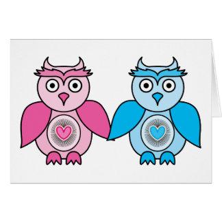 Kawaii Valentines Owls Card