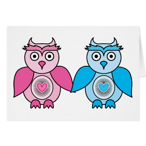 Kawaii Valentines Owls Greeting Card