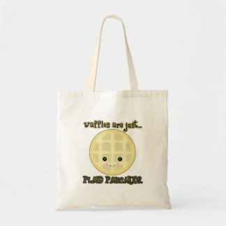 kawaii waffles are just plaid pancakes budget tote bag
