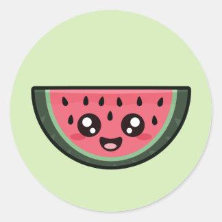 Kawaii Watermelon Classic Round Sticker
