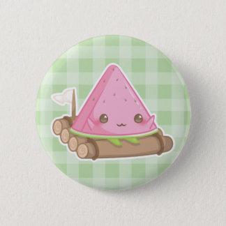 Kawaii Watermelon Slice in Cute Brown Raft Button