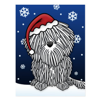 Kawaii White Puli Christmas Postcard