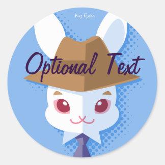 Kawaii White Rabbit Dapper Easter Bunny Classic Round Sticker
