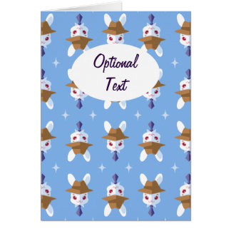 Kawaii White Rabbit Dapper Easter Bunny Pattern Card