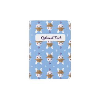 Kawaii White Rabbit Dapper Easter Bunny Pattern Passport Holder