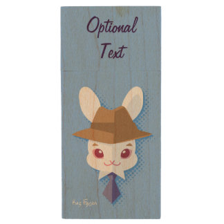 Kawaii White Rabbit Dapper Easter Bunny Wood USB 2.0 Flash Drive