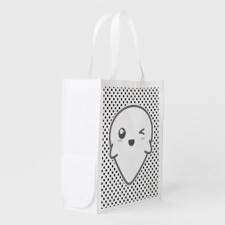 Kawaii Winking Ghost Reusable Bag