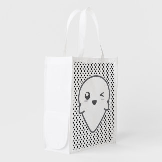 Kawaii Winking Ghost Reusable Bag Market Tote