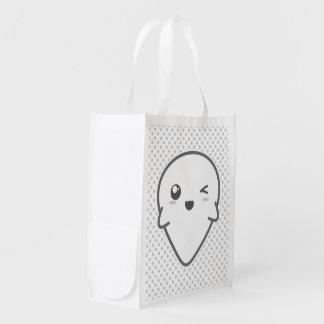 Kawaii Winking Ghost Reusable Bag Grocery Bag