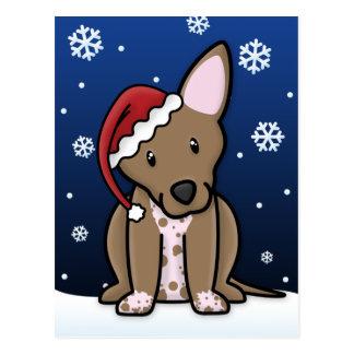 Kawaii Xoloitzcuintle Christmas Postcard
