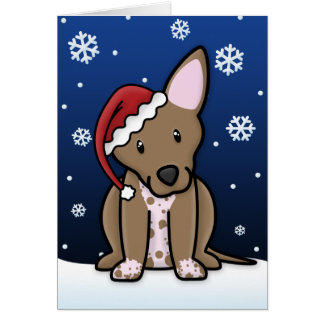 Kawaii Xoloitzcuintli Christmas Card