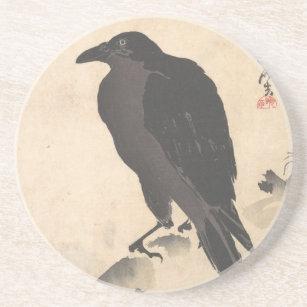Kawanabe Kyosai Crow Resting on Wood Trunk Art Coaster