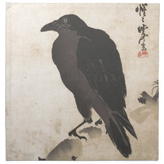 Kawanabe Kyosai Crow Resting on Wood Trunk Art Napkin