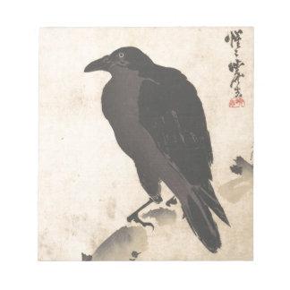 Kawanabe Kyosai Crow Resting on Wood Trunk Art Notepad