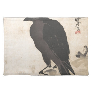 Kawanabe Kyosai Crow Resting on Wood Trunk Art Placemat