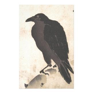 Kawanabe Kyosai Crow Resting on Wood Trunk Art Stationery