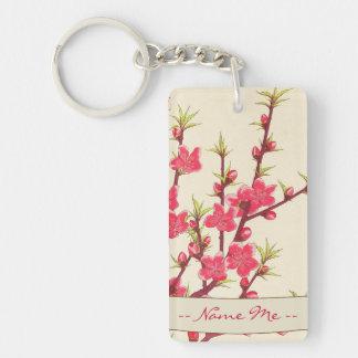 Kawarazaki Shodo Floral Calendar of Japan Cherry Double-Sided Rectangular Acrylic Key Ring