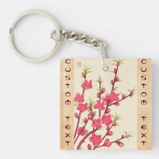 Kawarazaki Shodo Floral Calendar of Japan Cherry Double-Sided Square Acrylic Key Ring