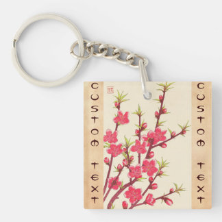 Kawarazaki Shodo Floral Calendar of Japan Cherry Square Acrylic Keychains