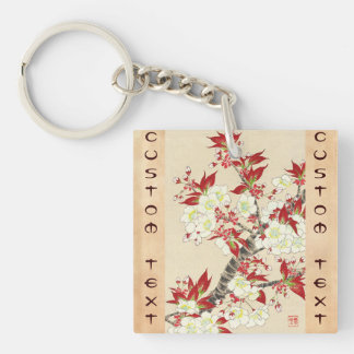 Kawarazaki Shodo Floral Calendar of Japan Double-Sided Square Acrylic Key Ring