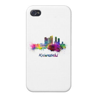 Kawasaki skyline in watercolor iPhone 4/4S cases