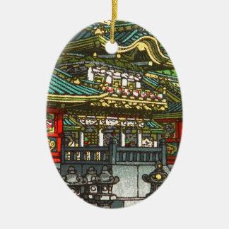 Kawase Hasui 川瀬 巴水: Toshogu Shrine in Nikko Ceramic Oval Decoration
