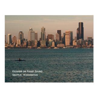 Kayak at Seattle Sunset Postcard