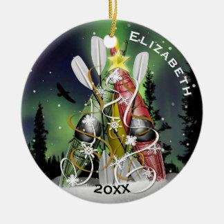 Kayak Christmas Tree Aurora Borealis Round Ceramic Decoration