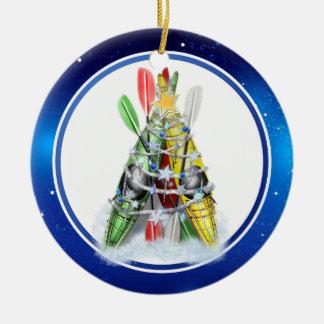 Kayak Christmas Tree Ceramic Ornament