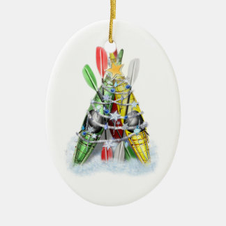 Kayak Christmas Tree Ceramic Ornament