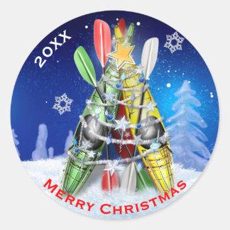Kayak Christmas Tree custom Classic Round Sticker
