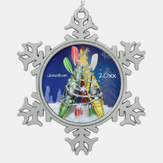Kayak Christmas Tree custom name and year Snowflake Pewter Christmas Ornament