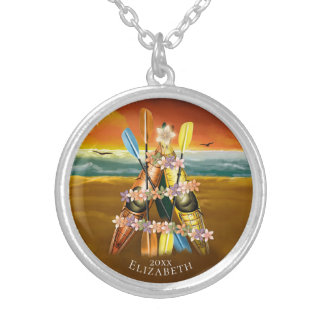 Kayak Christmas Tree on a tropical beach Silver Plated Necklace