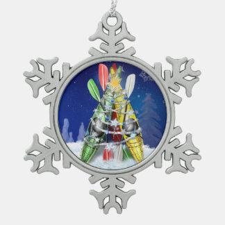Kayak Christmas Tree Snowflake Pewter Christmas Ornament