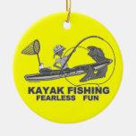 Kayak Fishing Black & White Whimsy Christmas Ornament