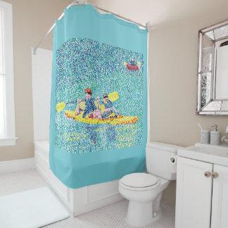 Kayak Kayaking in Pointillism - Shower Curtains