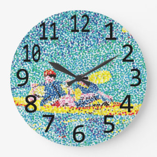 Kayak Kayaking Scene Pointillism Wall Clocks