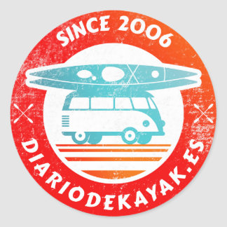 Kayak newspaper logo washed classic round sticker