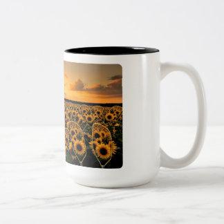 Kayak Paddle Sunflower Sunset Two-Tone Coffee Mug