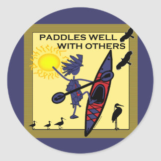 Kayak Paddles Well on Yellow Classic Round Sticker