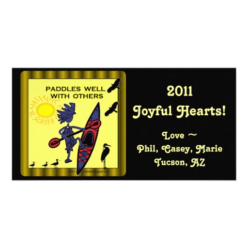 Kayak Paddles Well With Others II Customized Photo Card